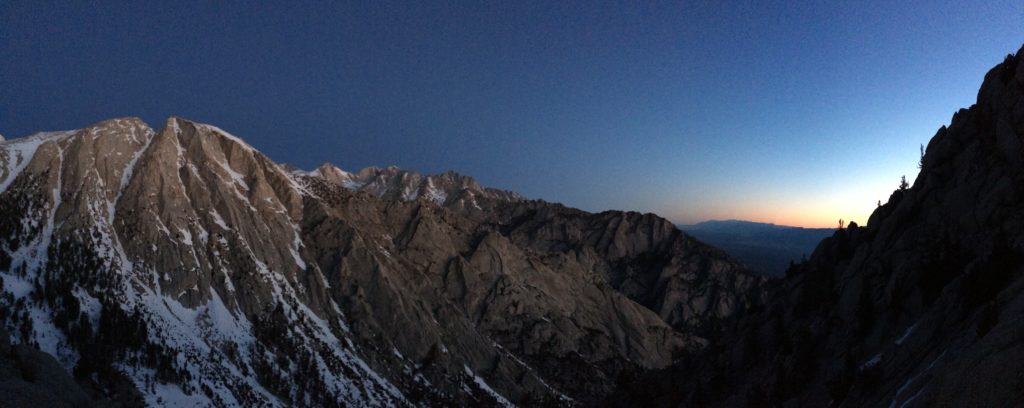 South Face of Lone Pine Peak near dawn. PC Marcus Russi
